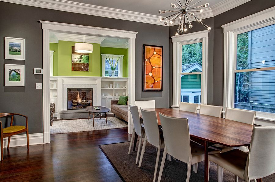 Best ... White trims bring added beauty to the gray dining room [Design: Board colors for dining room walls